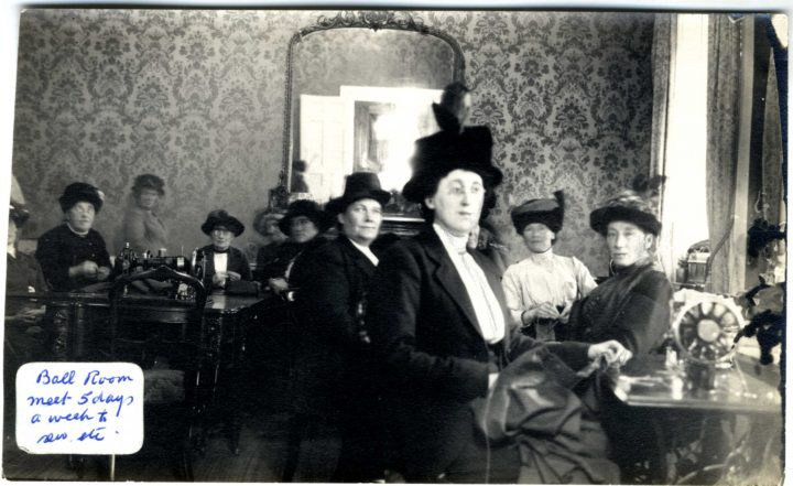 The ballroom, Government House, St. John's, NL, which is used by members of the Women's Patriotic Assoc. who meet five days a week to sew and knit for the men at the front, ca. 1915