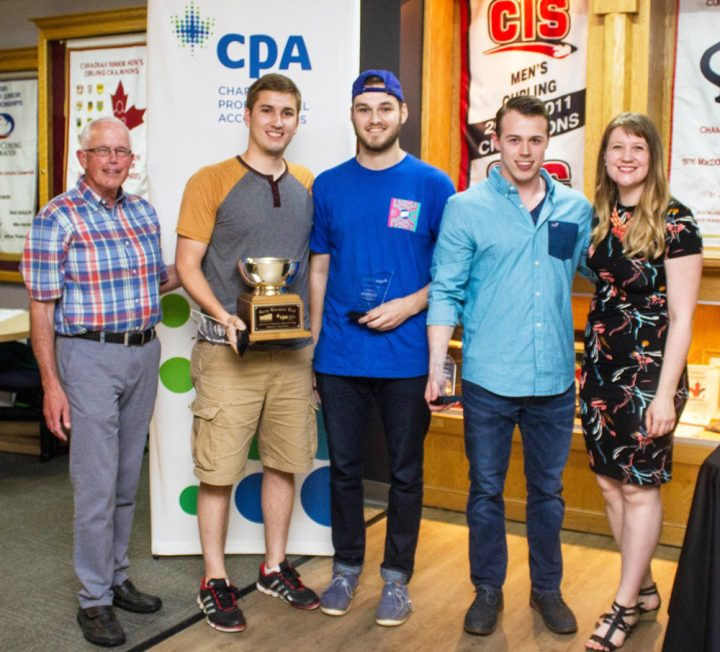 From left, Dr. Gary Gorman, winners Chris Lewis, Liam Coombs, Chris Mallard, and CPA representative Courtney Barnhill.