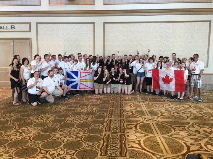 Teams from Newfoundland and Labrador pose for a photo during the 2016 International MATE ROV Competition.