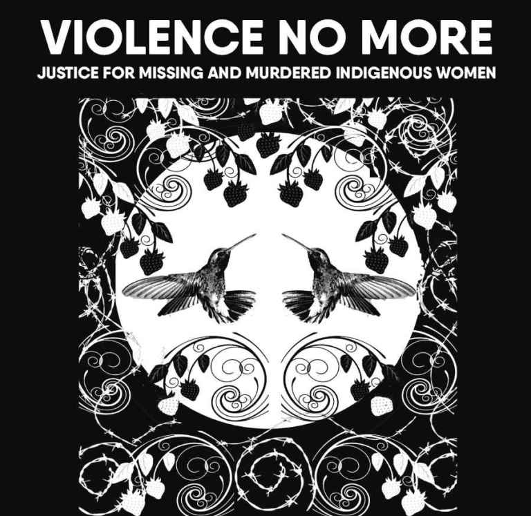 Artwork by Tannis Nielsen in support of the Violence No More event