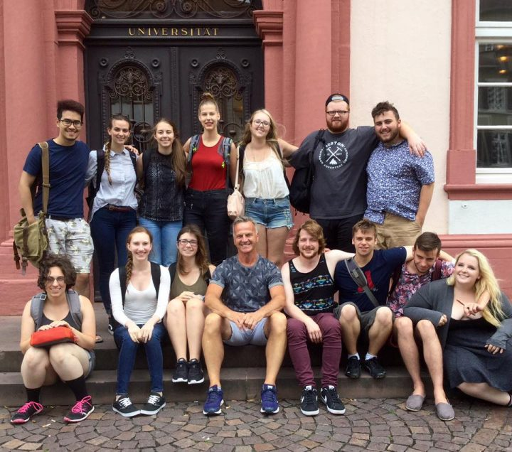 Dr. John Buffinga, middle of front row, on a recent trip to Heidelberg with Memorial students