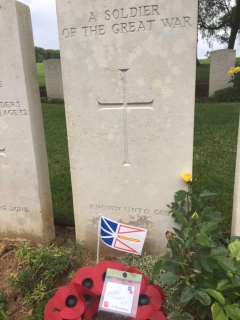 The wreath Katie Cranford laid in honour of her relative, Llewellyn Cranford, who died during the Battle of Beaumont-Hamel.