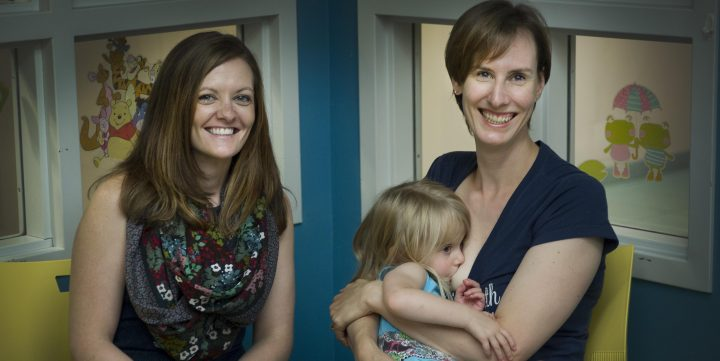 From left are Dr. Tiffany Lee and Fiona Cunningham and her daughter, Grace.
