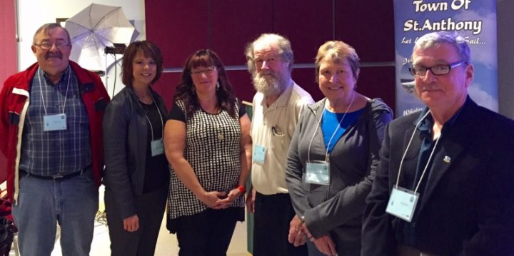 """From left, Gerry Gros, mayor of Anchor Point, Sheila Fitzgerald, mayor of Roddickton-Bide Arm, Karen Oldford, mayor of Labrador City, Keith Billard, mayor of Flowers Cove, Dale Colbourne, mayor of St. Lunaire-Griquet, and Ern Simms, mayor of St. Anthony, participated in a panel as part of the """"Our Way Forward: Sharing Knowledge and Building Capacity for Regional Development"""" conference."""