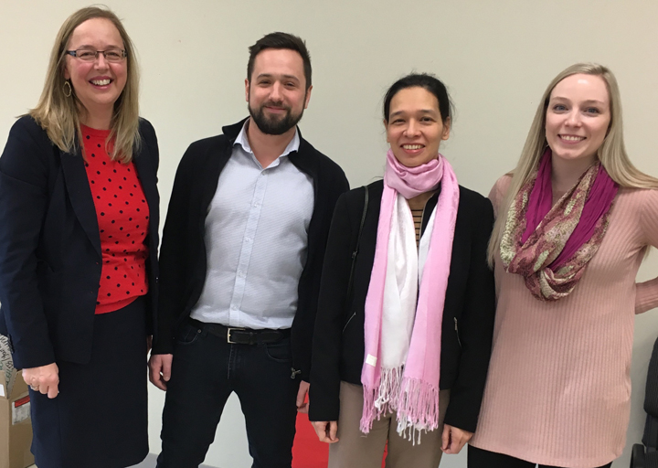 Left to right: Dr. Donna Cox, dean of the School of Social Work, Peter Kachanoski, Nicole Helwig, manager of the Centre for Social Enterprise, and Sydney Sheppard.