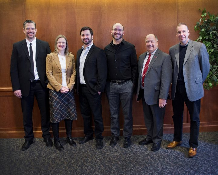From left: Brent Miller, Terra Nova Asset Manager, Suncor Energy; Dr. Penny Morrill, Science, 2016 Terra Nova Young Innovator Award (TNYIA) recipient; Dr. Andrew Staniland, Music, 2017 TNYIA recipient; Dr. Michael Katz, Science, 2017 TNYIA recipient; Dr. Gary Kachanoski; Dr. Ray Gosine.