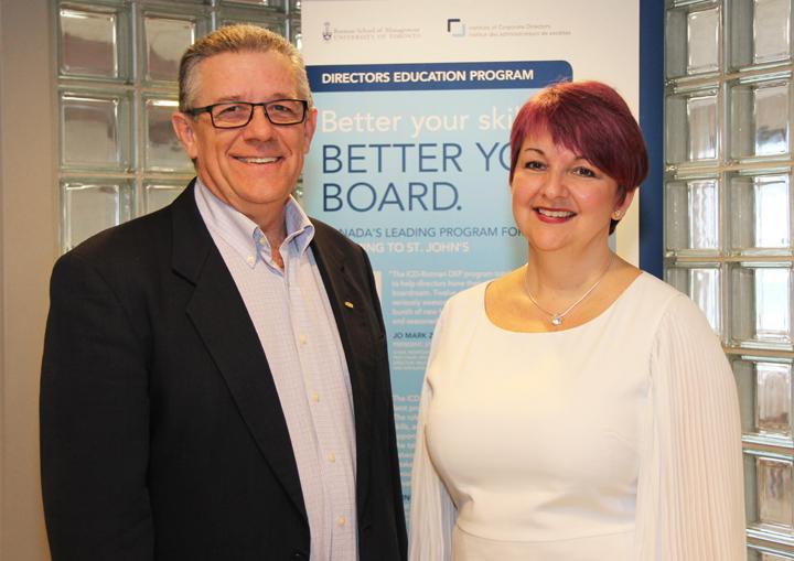 Brian Hurley, left, Gardiner Centre director, and Karen McCarthy, participant in the Directors Education Program.