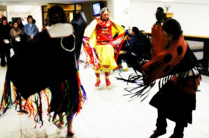 Aboriginal dancers and drummers at the University Centre.
