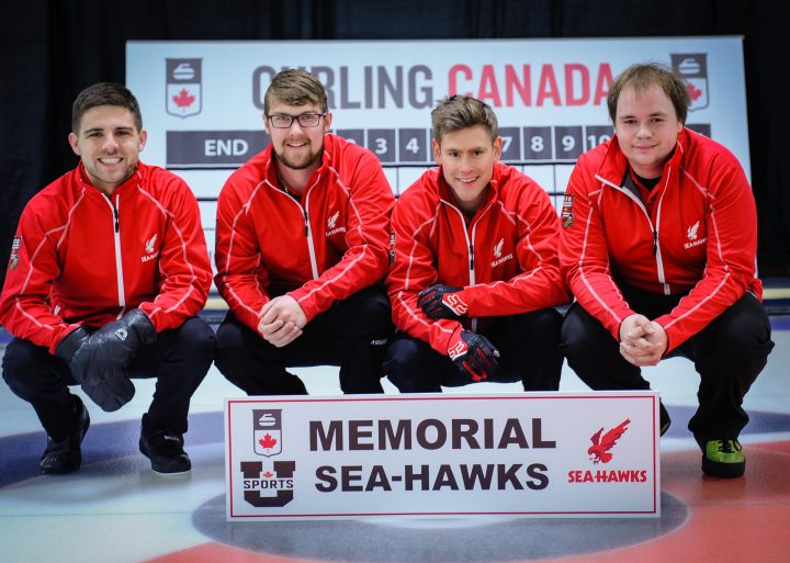 From left are 2017 Canadian curling champions Adam Boland, Stephen Trickett, Zach Young and Evan Kearley.