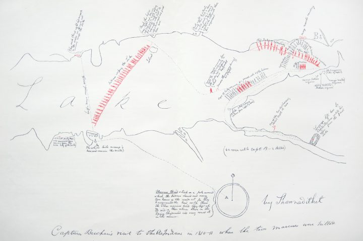 Published in Howley's book is one of several maps drawn by Shanawdithit, showing the Beothuk encampment and activities at Red Indian Lake. It also depicts where encounters occurred between the Beothuk (red ink) and Europeans (black ink), according to the hand-written notes by William E. Cormack.