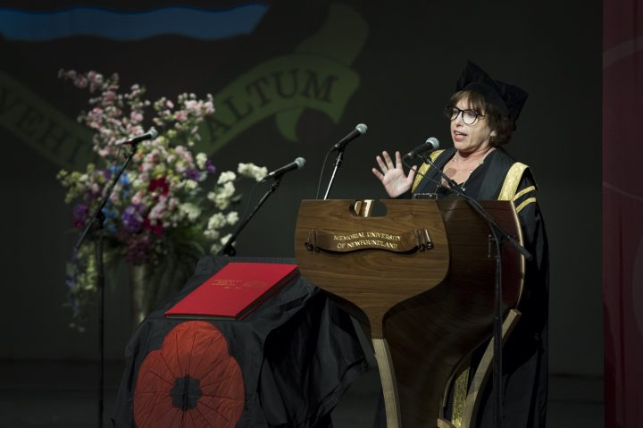 Dr. Noreen Golfman encouraged first-year students to go abroad as part of their university education during last fall's matriculation ceremony.