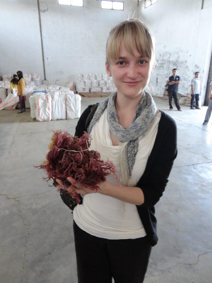 MacKenzie Young, project co-ordinator, MI, visits Kospermindo's seaweed warehouse in Kima, Indonesia.
