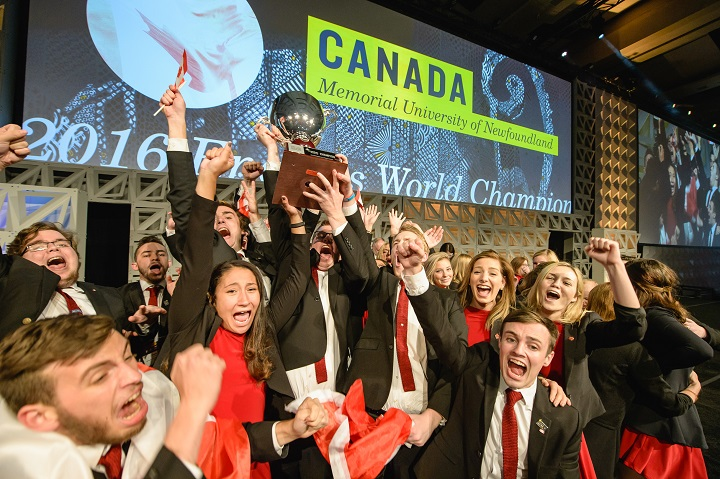 The victorious Enactus Memorial team at last year's Enactus World Cup competition in Toronto, Ont.