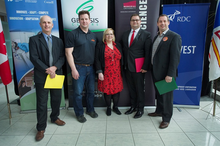 From left, are Dr. Mark Abrahams, Wally Hass, Dr. Christina Bottaro, Bernard Davis and Nick Whalen at the May 12 announcement.