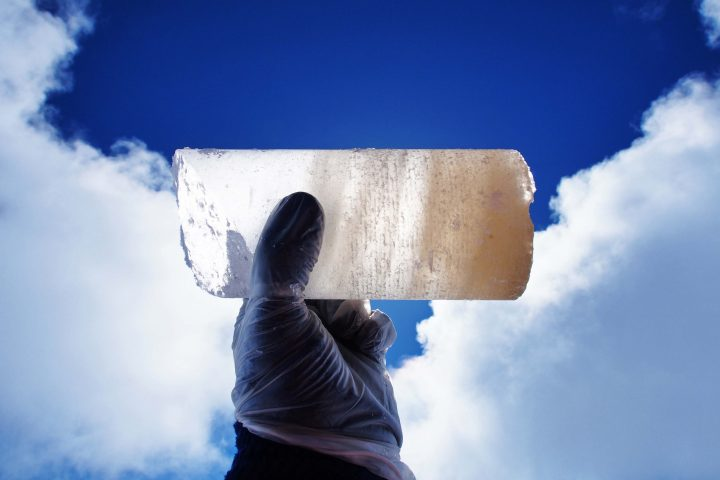 An ice core section drilled in Alaska.