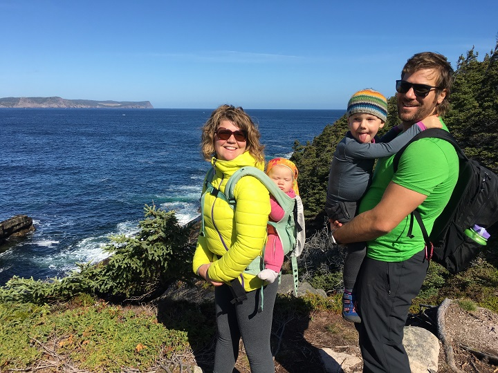 Dr. Daniel Fuller and family hike the East Coast Trail.