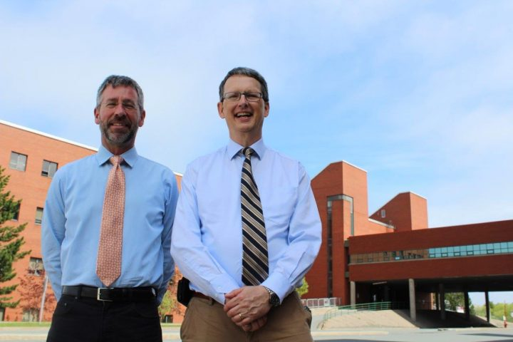 From left, Drs. Brian Veitch and Claude Daley outside the engineering building on Memorial campus in St. John's