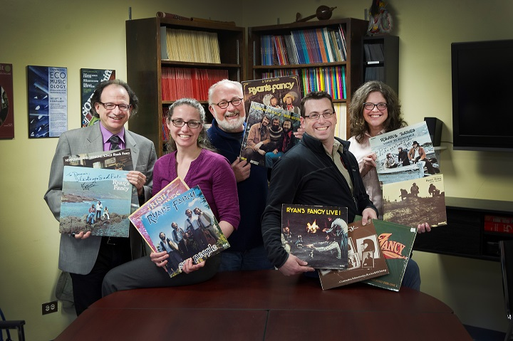 Members of MMaP and Fergus O'Byrne hold Ryan's Fancy records
