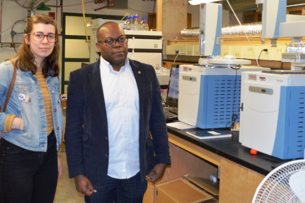 From left are Ashley Hemmings and Dr. Raymond Thomas in the BERI lab at Grenfell Campus.