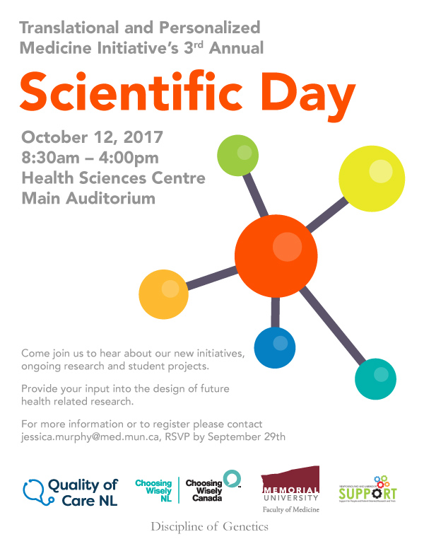 The Translational and Personalised Medicine Initiative team is holding its third annual Scientific Day on Thursday, Oct. 12.