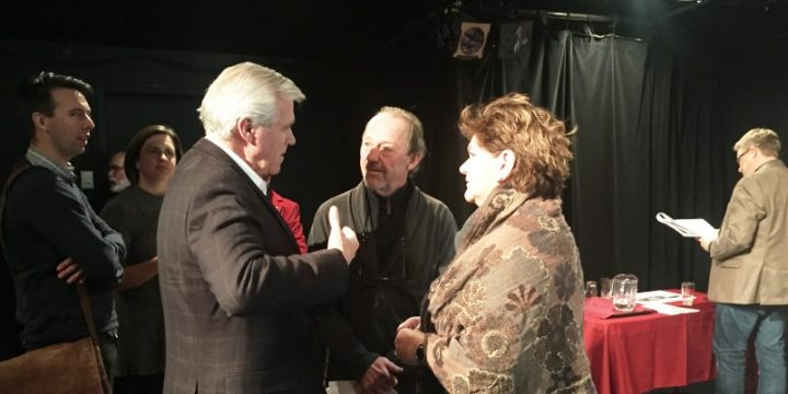 From left, Premier Dwight Ball chats with Jeff Pitcher, artistic director of TNL, and Guidie Hutchings, MP for Long Range Mountains, in Warehouse Theatre in Cow Head.