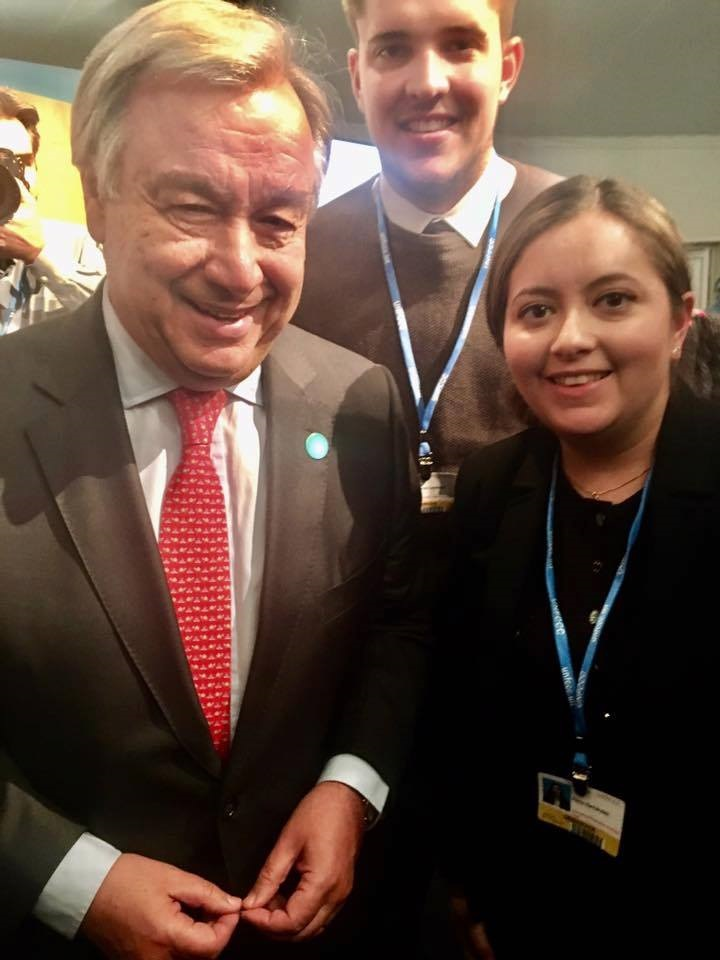 Ms. Herandez with Antonio Guterres, UN secretary general, during COP23.
