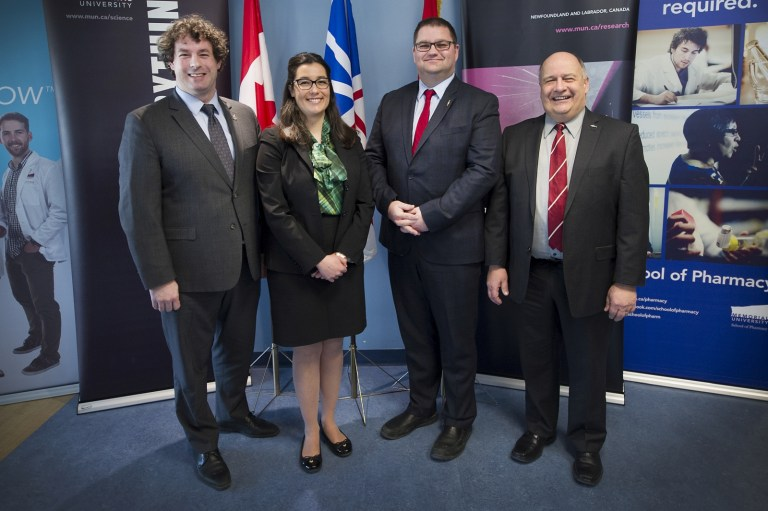 Dr. Diana De Carvalho, second from left, during a CFI funding announcement at Memorial in February 2017. She's joined by (from left) MP Nick Whalen; MHA Bernard Davis; and President Kachanoski.