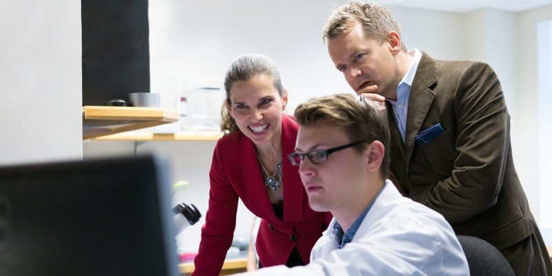 Minister Kirsty Duncan and Seamus ORegan during a visit to Memorial in September 2017.