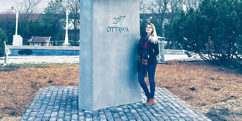 Commerce student Nicole Noseworthy at city hall in Ottawa.