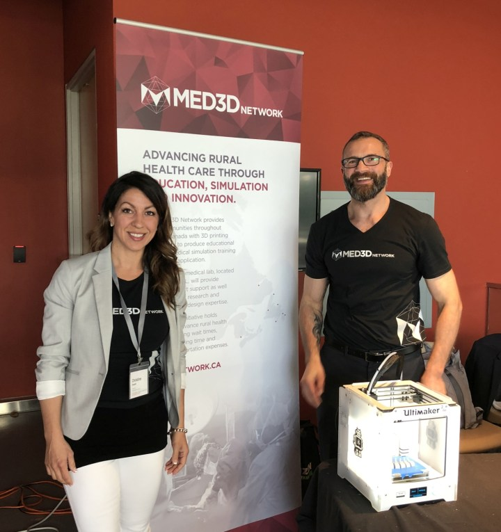 Christine Goudie and Dr. Adam Dubrowski at the SIM One Forum in Toronto, Ont., in June 2018.