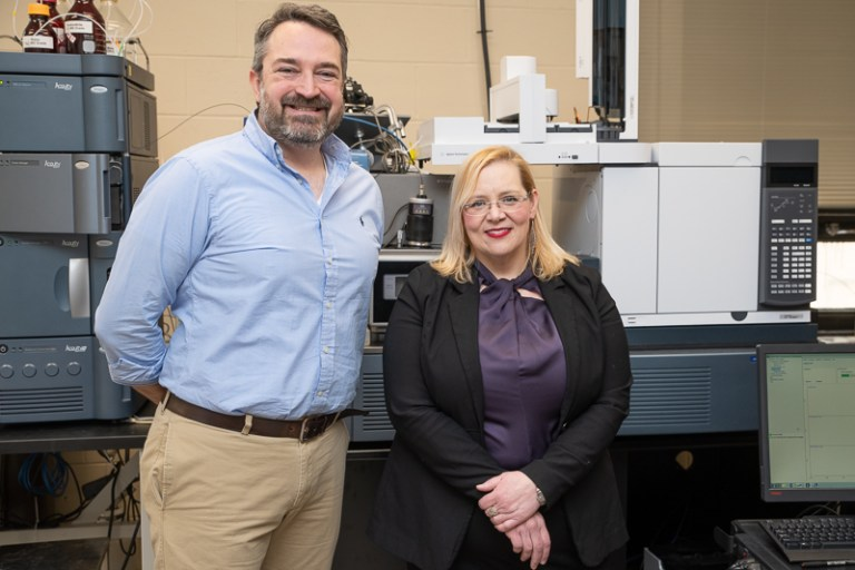 Drs. Christopher Kozak and Christina Bottaro, professors, Department of Chemistry, are receiving $300,000 to purchase a new state-of-the-art mass spectrometer.