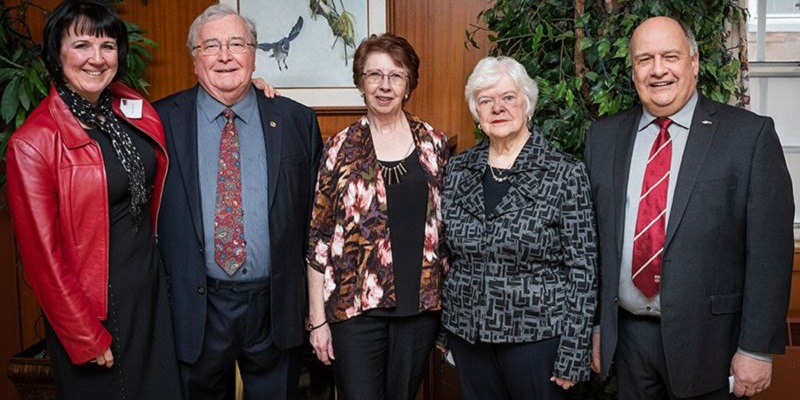 Karyn Butler, Dr. Edgar Williams, Doreen Whalen, MUNPA President Jane Foltz, and Memorial University President Dr. Gary Kachanoski at this year's Tribute Awards