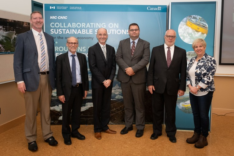 From left: Dr. David Murrin, Dr. Neil Bose, Dr. Michel Dumoulin, Bernard Davis, Dr. Douglas Muzyka and Iris Petten.