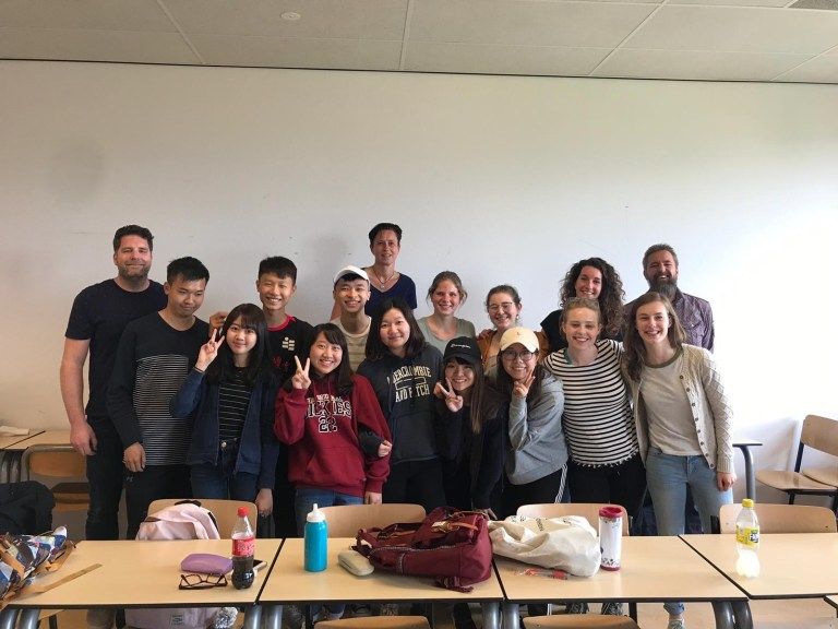The addictions care class at HAN University, the Netherlands. Taylor O'Connor, is in the second row, third from right; Caitlin Dillon, is in the front row, second from right.