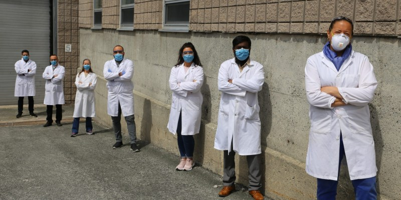 The Hibernia EOR Research Group working on PPE, from left to right: Saeed Jafari Sofla, Shervin Ayazi, Norah Hyndman, Maziyar Mahmoodi, Fatemeh Goodarzi, Edison Sripal and Lesley James.