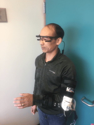 One of Dr. Jiang's projects is a prosthetic simulator. The hand model is driven by the muscle deformation signals collected from a pressure sensor strap wore on the forearm. This simulator will be utilized for patient training and research experiment.