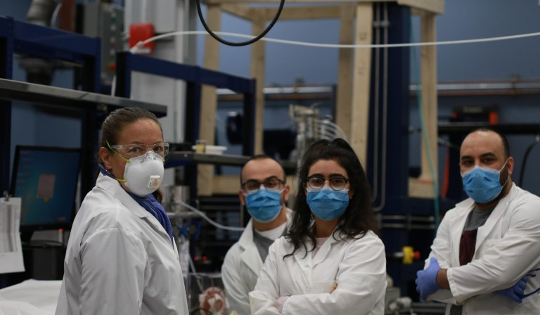 From left are Dr. Lesley James, Shervin Ayazi, Fatemeh Goodarzi and Maziyar Mahmoodi. All are research engineers with the Hibernia EOR Research Group.