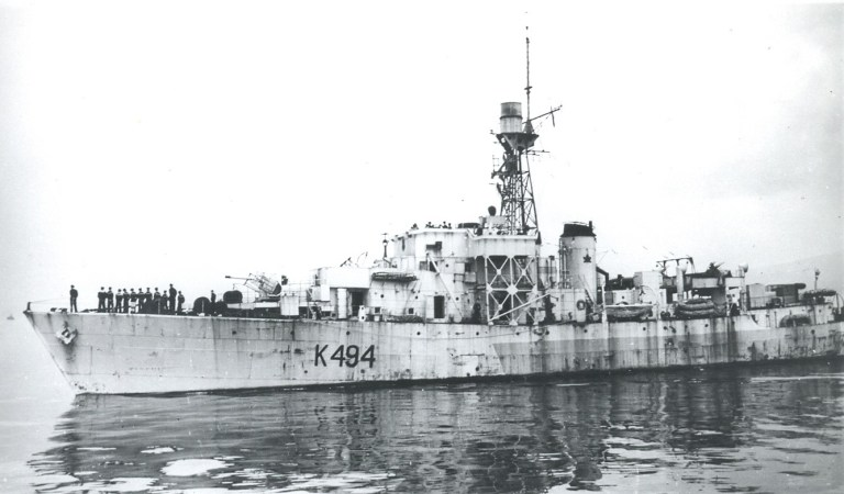 A black-and-white photo of the HMCS Arnprior, a ship that was among the Corvettes in World War II.