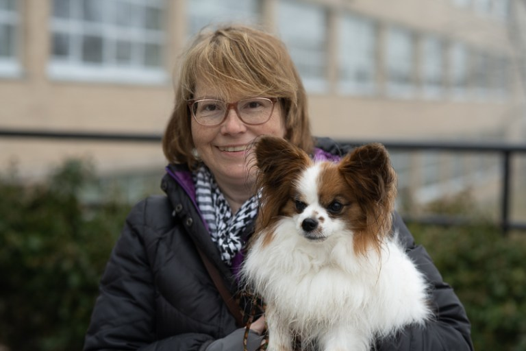 Dr. Carolyn Walsh with a small dog