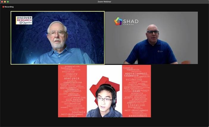 A computer screen showing three people having a conversation with various backgrounds. One of the people is Nobel Prize-winner Dr. Arthur McDonald.