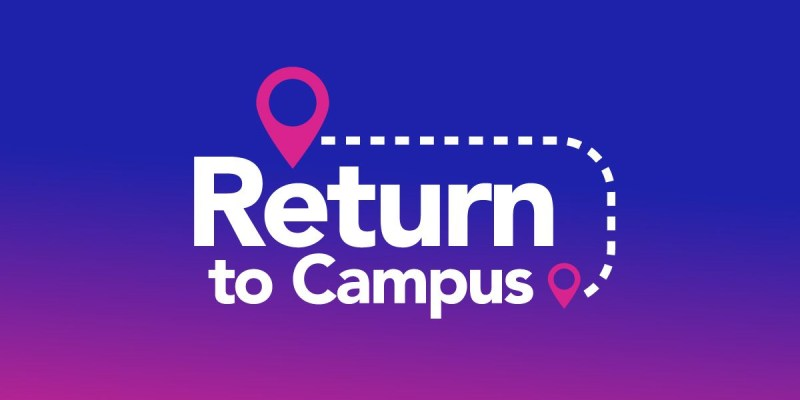 """A blue and purple rectangle with the words """"Return to campus"""" in white and compass icons in pink"""