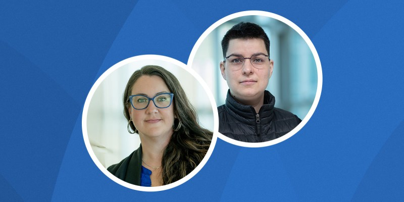 Drs. Amanda Bittner and Max Liboiron are pictured in cutouts on a blue background
