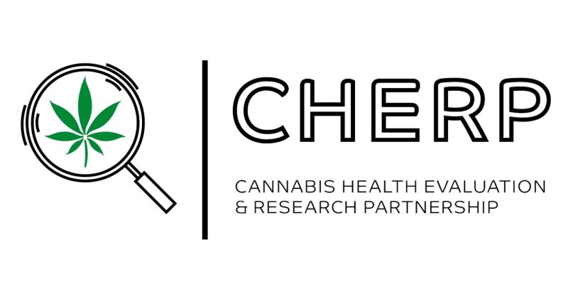 Picture of a logo with cannabis leaf under a magnifying glass, beside the name of a research project, Cannabis Health Evaluation and Research Partnership