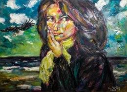 NADEGE AM MEER | 2011, Öl auf Leinwand, 100 x 80 cm. EUR 3.000