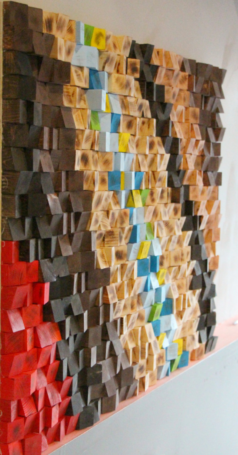 Abstract Wood Art : abstract, Mosaic,, Woodburning, Reclaimed, Geometric, Rustic, Sculpture, Abstract, Gbandwood, Wooden