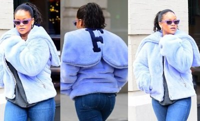 Rihanna flaunts her curves in figure-hugging jeans