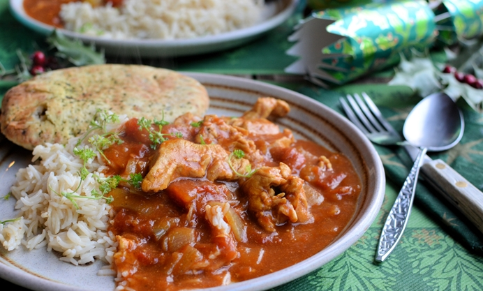 Serve with rice and naan bread