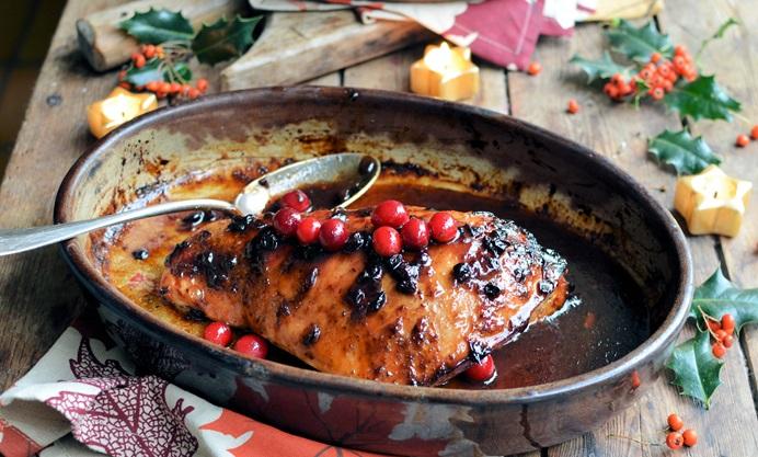 Cranberry-glazed roast turkey breast with wild rice stuffing