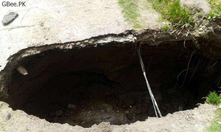 Massive sinkhole appears in Karimabad Hunza