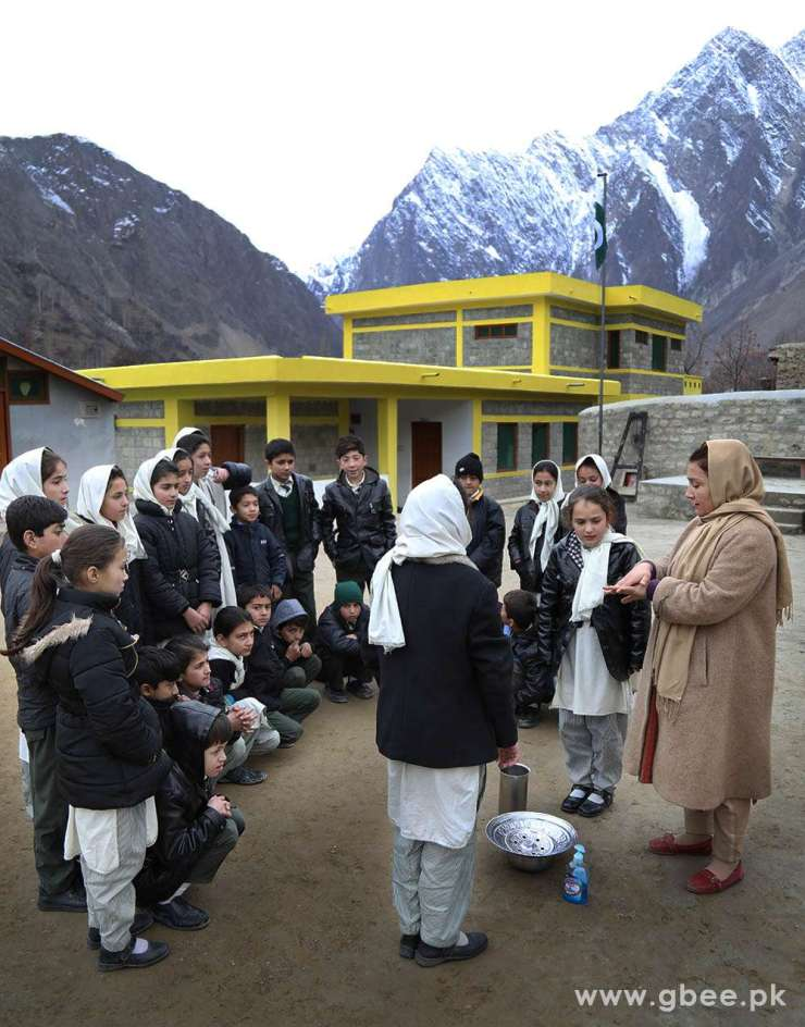 school kids in Aga Khan Diamond Jubilee School Hunza Valley, Gilgit-Baltistan